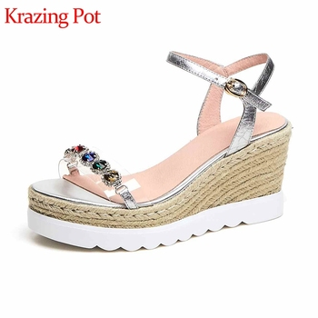 Krazing Pot sheep skin plastic PVC peep toe buckle straps women high heels colorful diamond fasteners wedge platform sandals l23