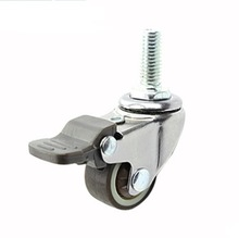 4PCS/LOT  Wheel D:25mm M6 (1inch) Mute Universal With Brake Display Cabinets Casters(Loading 20kg)
