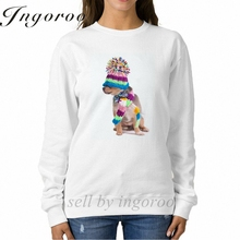Babaseal Small Dog Wearing A Colorful Knitted Scarf And Beanie Print Oversized Harajuku Matching Couple Hoodies Kpop Cute Hoodie