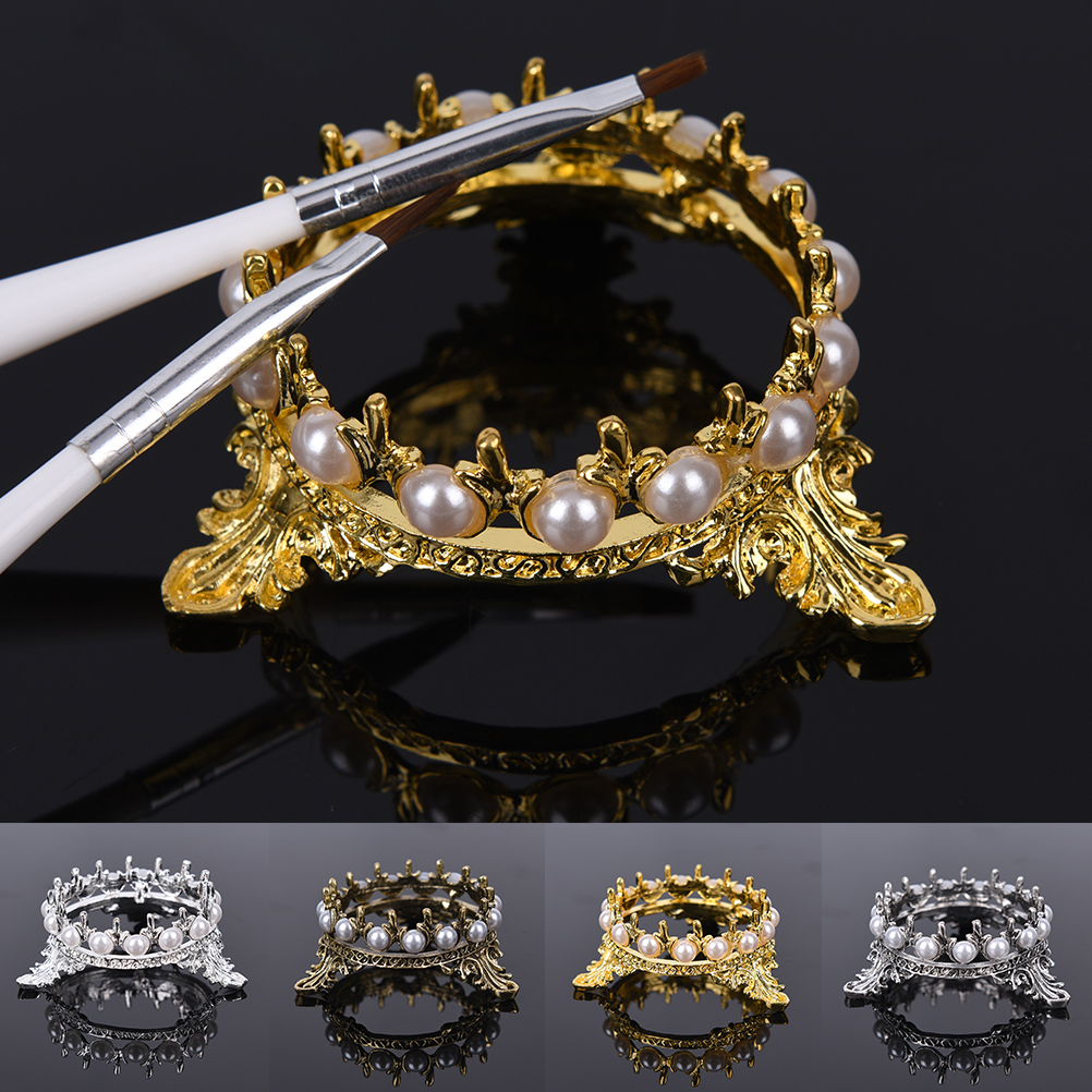 Pen Holders Learned Crown Pearls Dog Cat Fruit Pencil Pens Brushs Stand Rack Decor Salon Home Diy Manicure Nail Carving Drawing Pens Brushes Holder Last Style