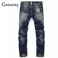 100% Cotton Famous Brand Fashion Designer Jeans Men Straight Dark Blue Color Printed Mens Jeans Ripped Jeans SA 8