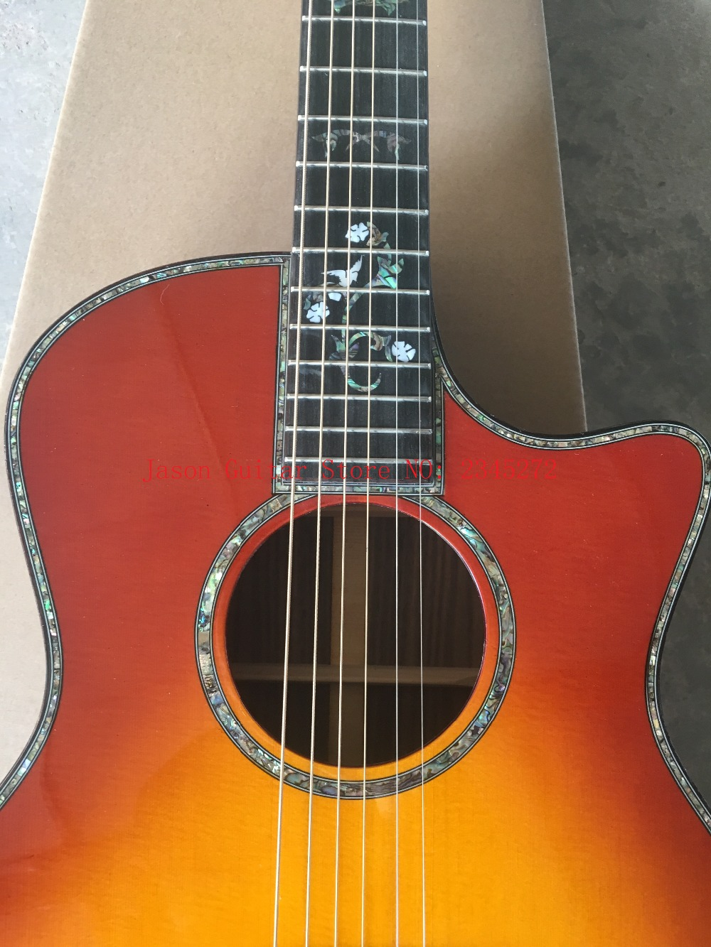 Custom 9 16 acoustic guitar,Solid spruce top,Ebony Fingerboard Guitar,Abalone inlays OEM acoustic Guitar,Free shipping