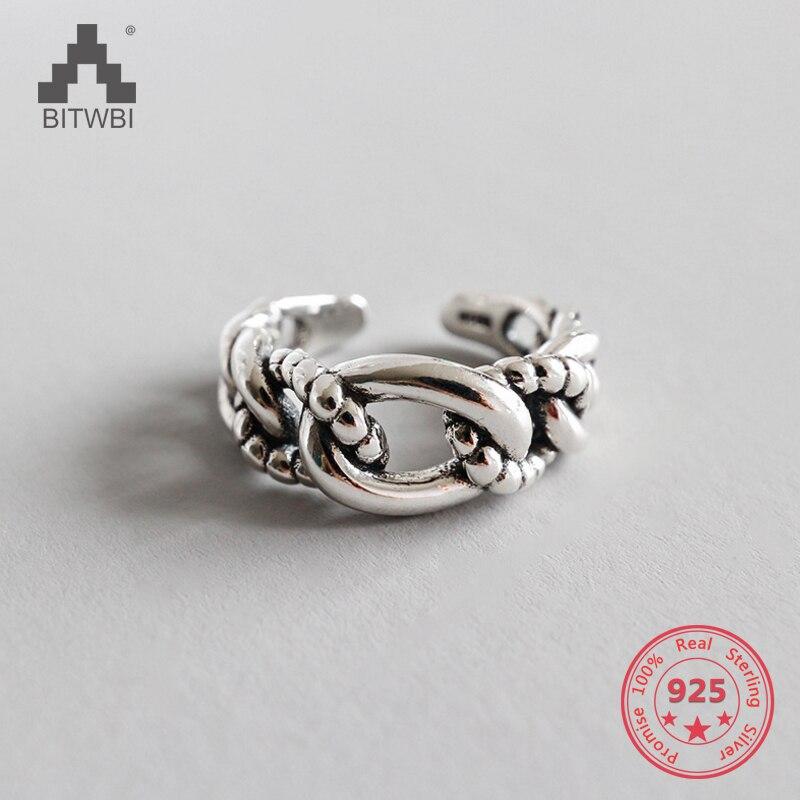 Beliebte Marke S925 Sterling Silber Handgemachte Vintage Thai Silber Twist Kette öffnung Ring