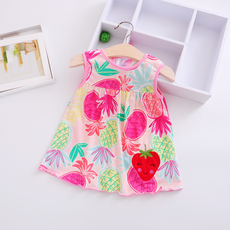 0-2T Casual Summer Baby Dress Cotton Floral Infant Girl Dresses Ruffles Toddler Baby Girl Clothes 1-2 years old newborn dress ruffles baby girl back cross dresses infant toddler girls sleeveless brown summer princess dress sundress clothes