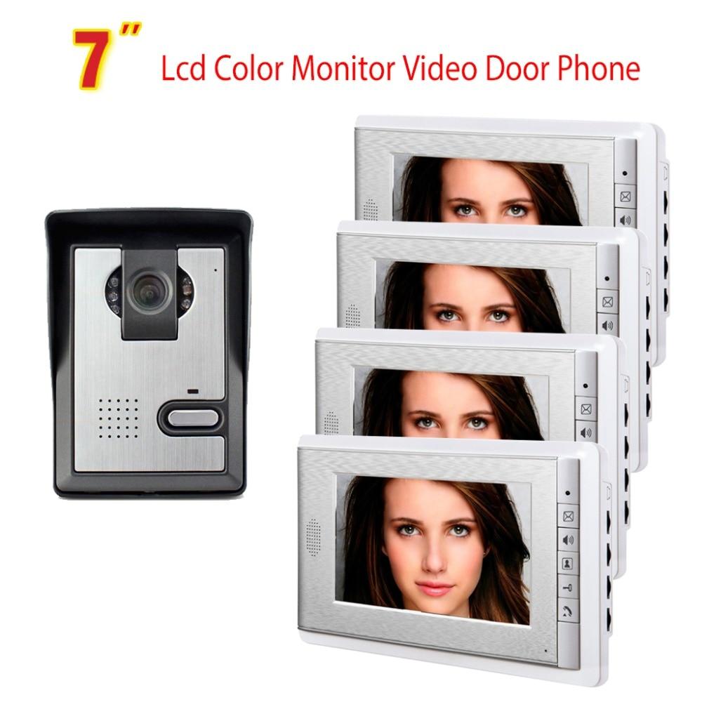 7 Monitor Video Door Phone Intercom Doorbell Video Doorphone system Wired Home Intercom System visual Intercom 4 Monitor
