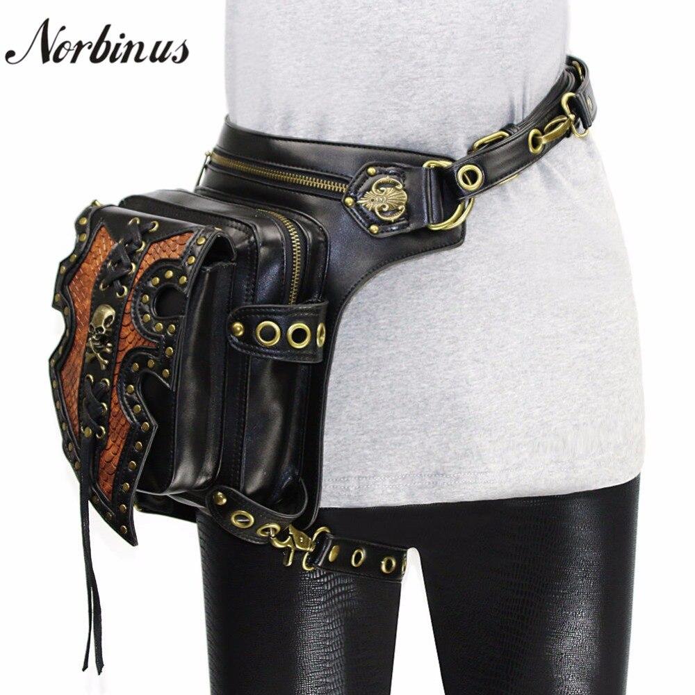Norbinus Men Waist Bags Motorcycle Drop leg Thigh Holster Bag Women Steampunk Crossbody Bag Skull Hip