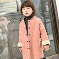 2016 Natal Meninas Casacos e Jaquetas de Meninas Jaqueta de Inverno Crianças Casaco De Lã de Cordeiro Camurça Moda Infantis De Menina Meninas Outerwear