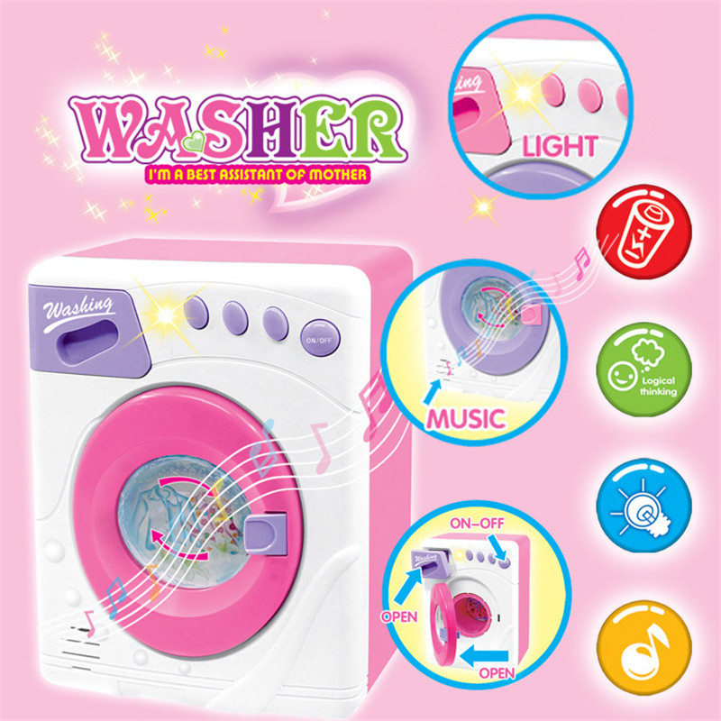 pink drum washing machine toyelectrical appliances toy children house washer pretend play music. Black Bedroom Furniture Sets. Home Design Ideas