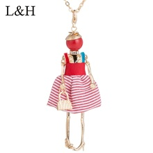 цена на Lovely Striped Red Dress Doll Necklaces&Pendants Gold Long Chain Sweater Necklace For Women Statement Jewelry Collier Femme