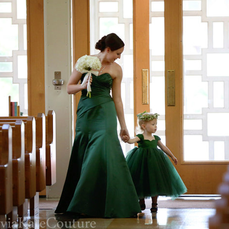Girls Wedding Dress Skirt Green Flower Mother Daughter Dresses Wedding Princess Ball Gown Mommy and Me Clothes family costume princess skirt pet dog clothes tee costume