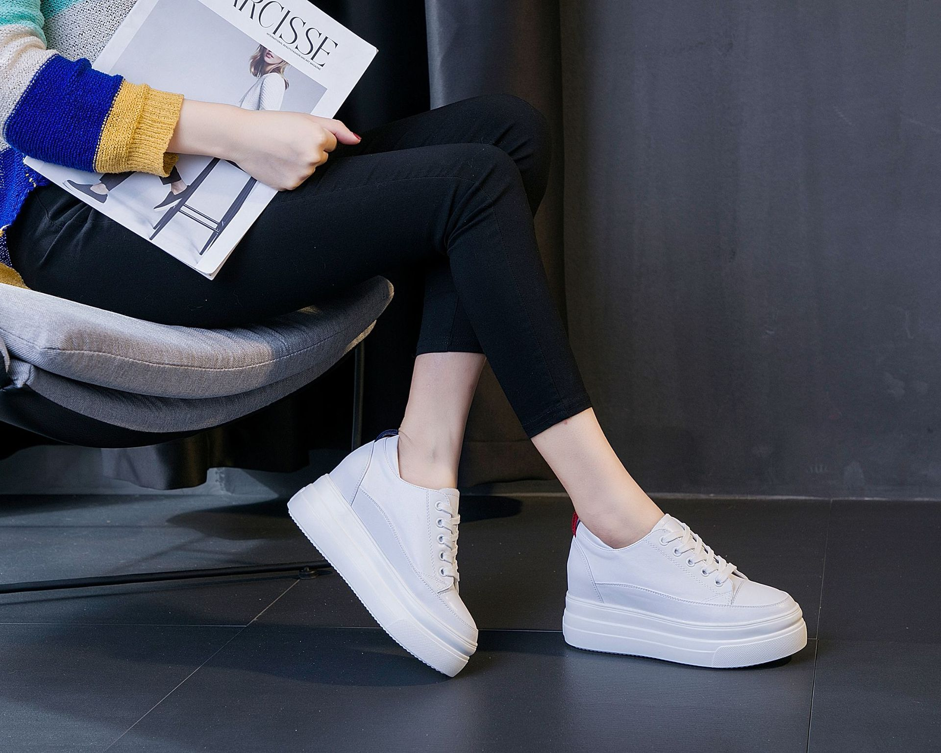 2019 autumn new Korean version of the small white shoes leather increased womens shoes wild casual walking shoes NA428-1-52019 autumn new Korean version of the small white shoes leather increased womens shoes wild casual walking shoes NA428-1-5
