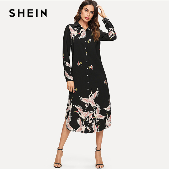 ab7ba98e9c SHEIN Multicolor Minimalist Classic Streetwear Red-crowned Crane Self Belted  Slit Hem Shirt Dress Autumn
