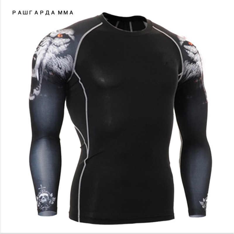 Подросток Лидер продаж 2017 года мышцы человек Кроссфит фитнес приталенное с длинными рукавами Футболка компрессионная одежда мужские Гидрокостюмы в стиле MMA термобелье