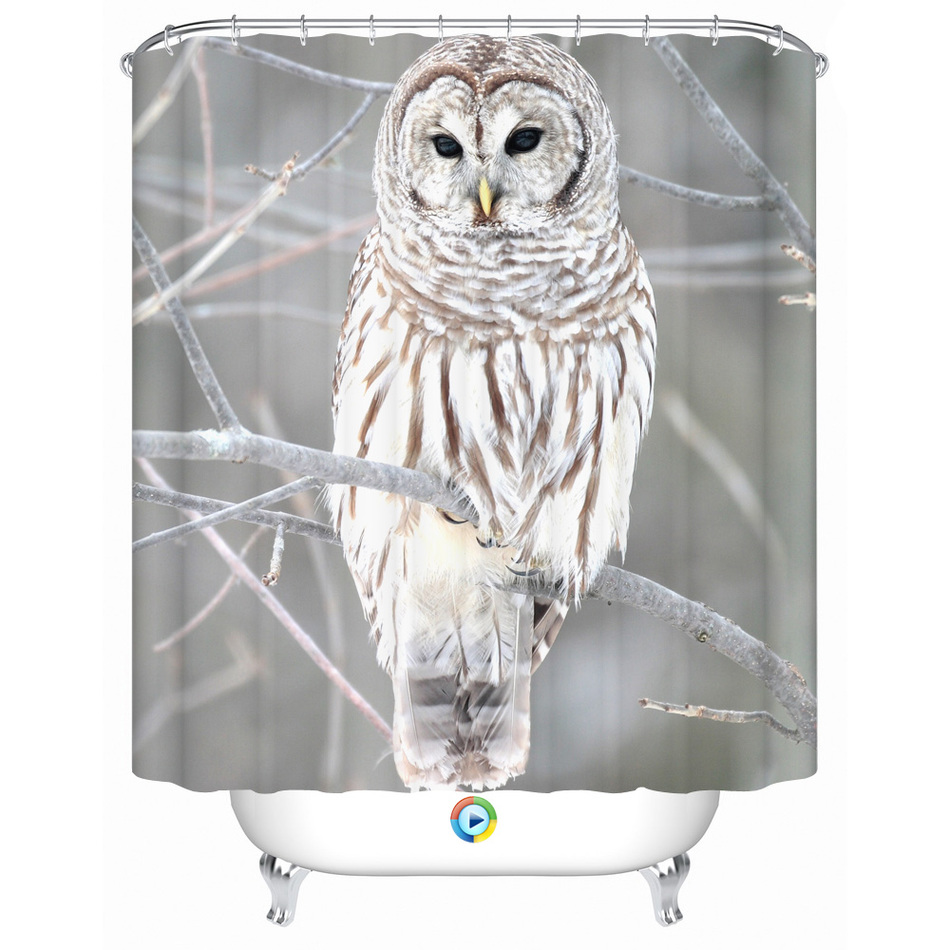 Owl shower curtains - Shower Curtain Bathroom Curtain Waterproof Snow White Owl On A Tree Branch Eco Friendly Fabric