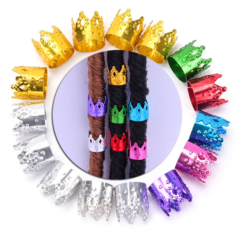 20Pcs/Lot Metal Tube Lock hair ring Beauty Dreadlock Beads Adjustable Hair Braid Cuff Clip Gold Silver Multicolour