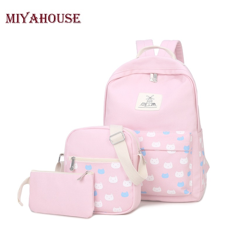 Miyahouse 3pcs set Cat Printing Backpacks For Teenage Girls Shoulder Bag Women Backpack Canvas School Bags