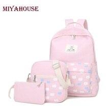 Miyahouse 3 teile/satz katze druck rucksäcke für teenager mädchen umhängetasche frauen rucksack leinwand schultaschen mode rucksack