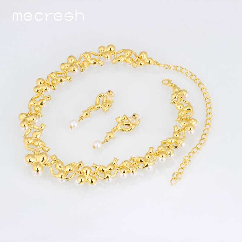 Mecresh Simulated Pearl Bridal Jewelry Sets For Women Crystal Gold Color Wedding Earrings Bracelet Necklace Sets MTL472+MSL246