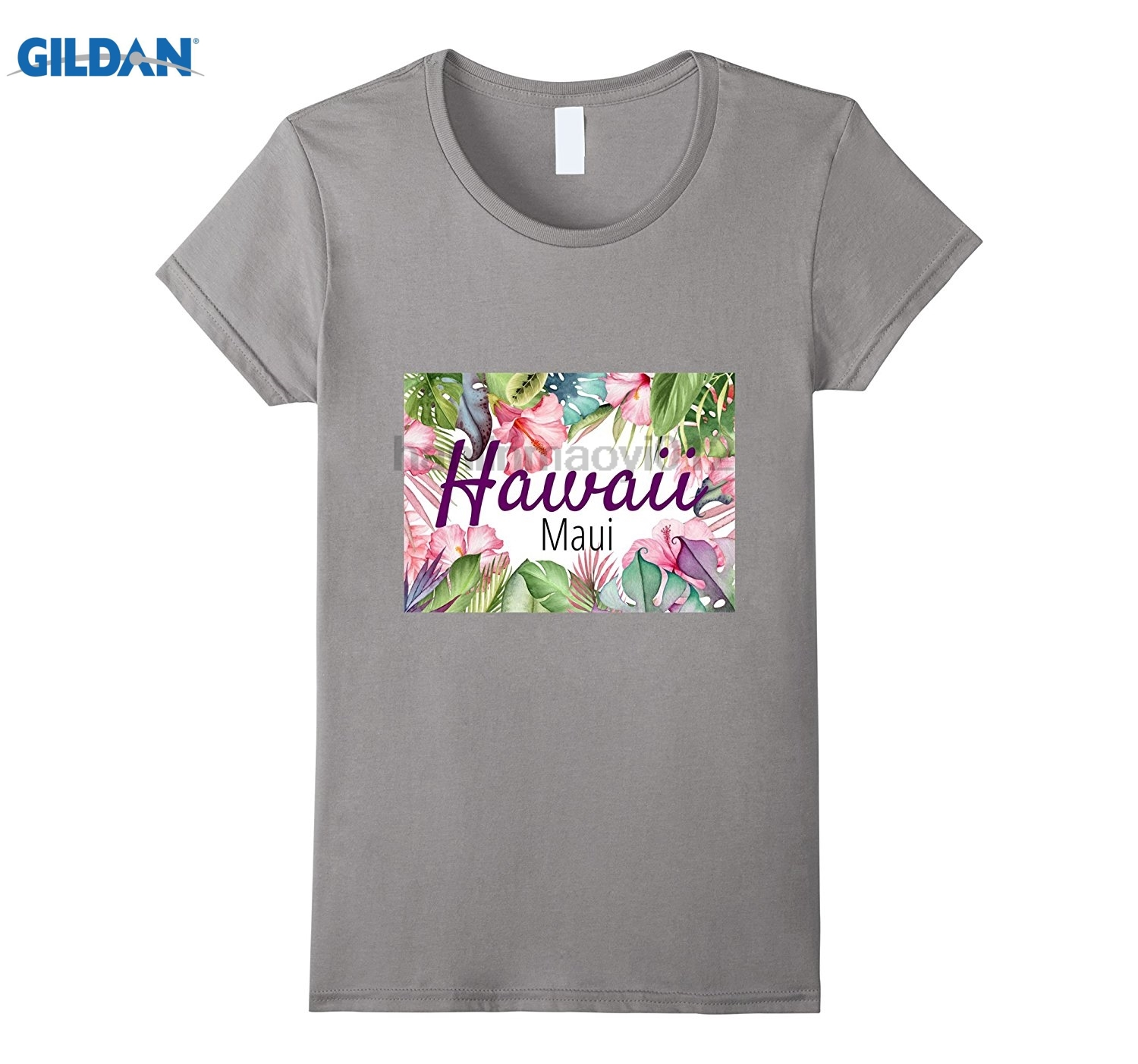 GILDAN Hawaiian Island Maui T-Shirt with tropical Flowers. glasses Womens T-shirt