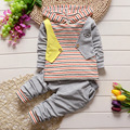 Envío gratis 2016 nuevo llegan rayas moda niños del bebé que arropan el traje de los cabritos del bebé del otoño ropa casual establecen