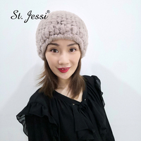 ST.Jessi New Lady's 100% Real Rex Rabbit Knitted Fur Cap Russia Quality Stretch Winter Warm With Fur Ball Skullies Beanies Hats