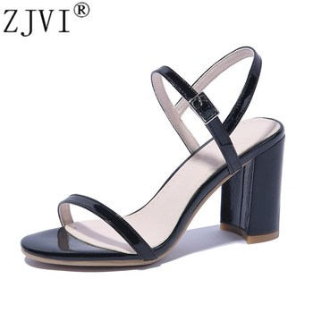 ZJVI women 2019 summer genuine leather sandals womens hot thick high heels sandalias woman sexy ankle strap shoes plus size 4