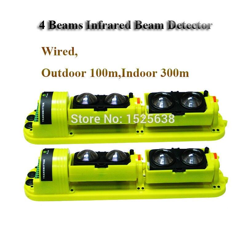 (Outdoor 100m,Indoor 300m) 4 Beams 100M Waterproof Photoelectric Home Security Alarm Infrared Detector 100m