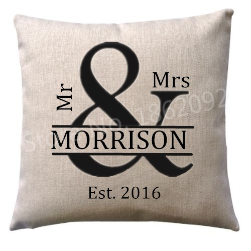 New Personalized Mr Mrs Cushion Cover Custom Name Throw Pillow Case Wedding Anniversary Gift Mr & Mrs Personalised Home Decor 18