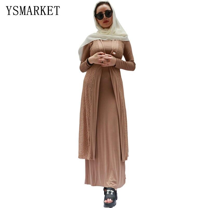 Coton à manches longues femme élégante longue robe deux pièces maxi robes musulmanes et abaya pour les femmes slim fame style A808