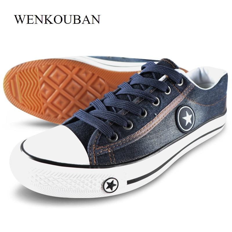 Мужская повседневная обувь, летние кроссовки из джинсовой ткани, Модные дышащие кроссовки на плоской подошве со шнуровкой, вулканизированные кроссовки, Chaussure hommesПовседневная обувь   -
