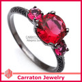 Carraton RSQD1083 Red Cystal Black Plated Solid 925 Silver Ring