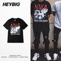 Topos de verão HEYBIG Skate Camiseta For Men Americano Comemoração Camisetas HIP HOP Rock N música rap tshirt Dimensionamento Chinês