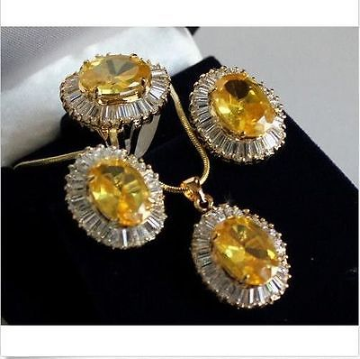 Lovely Sets Yellow crystal pendant necklace Stud earring Ring >> - watch wholesale Quartz stone CZ crystal watch crystal