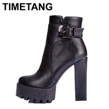 ENMAYLA Women Winter Boots Fur Inside Punk Style Zip and Buckle Square Heel Ankle Boots Martin Boots Big Size 35-40