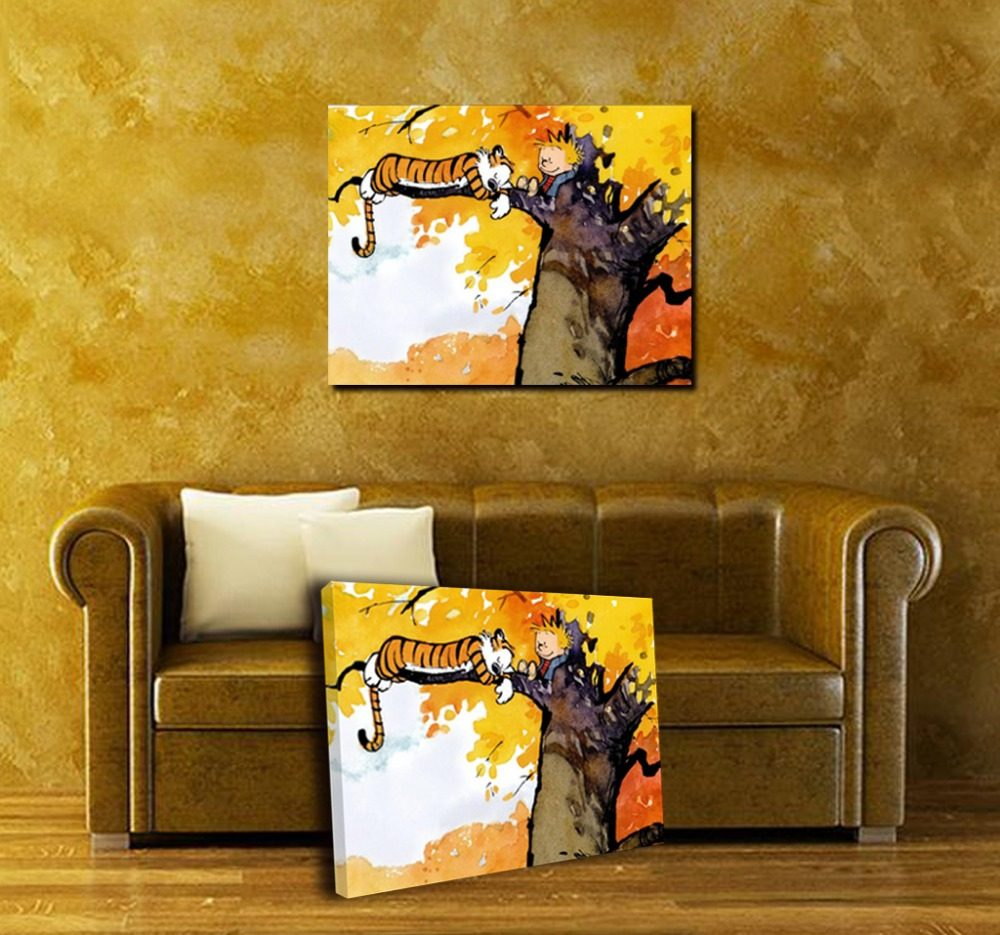 Online Shop Custom Canvas Art Calvin and Hobbes Poster Calvin and ...