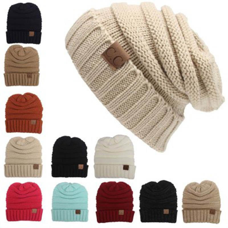 CC Beanies Winter Hats & Caps Women Knitted Wool Cap Men Casual Unisex Solid Color Hip-Hop Skullies Beanie Warm Hat