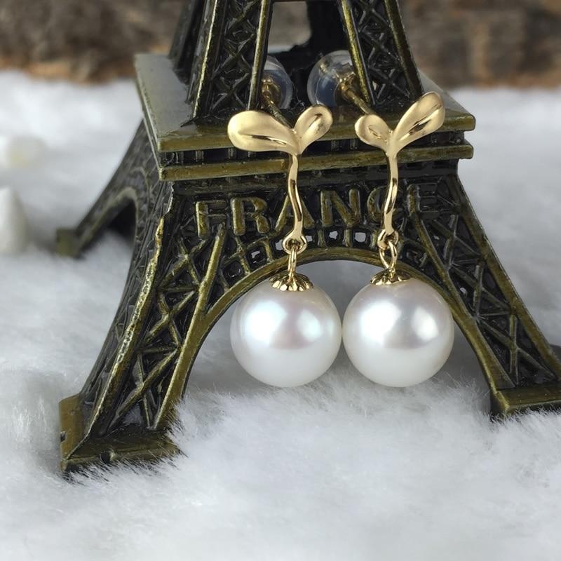 AINUOSHI 18K Yellow Gold Natural Cultured Freshwater Pearl High Quality Drop Earrings for Women Elegant Wedding Earrings Jewelry globo настольная лампа декоративная роза тройная globo orphelia 28026