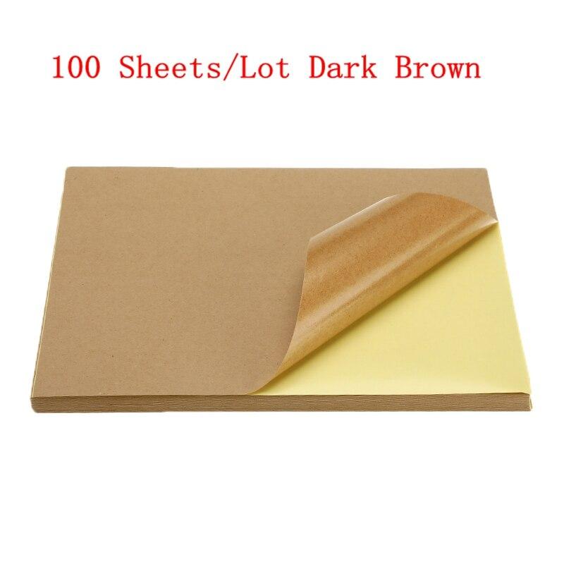 50/100 листа/уп наклейки для ногтей с много A4 глянцевой и матовой крафт клейкая Стикеры для лазерный струйный принтер копир ремесло Бумага самоклеющиеся Стикеры этикетка - Color: 100sheets dark brown