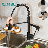 KEMAIDI Black Pull Out & Down Swivel Kitchen Faucet Rotated Basin Sink Faucet Mixer Tap 2 Functions Kitchen Mixer Taps