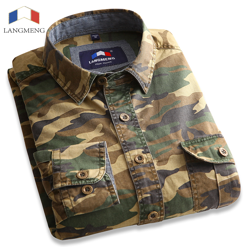 Langmeng 100% Cotton Camouflage shirt Men Breathable Army Combat casual  Shirts Outwear Military Camo Clothes Meisai mens shirt 74eca3c147b
