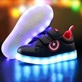 De carga usb boy & girls shoes sneakers soles brillando con luz luminosa bebé kids shoes shoes chaussure enfant llevó la luz