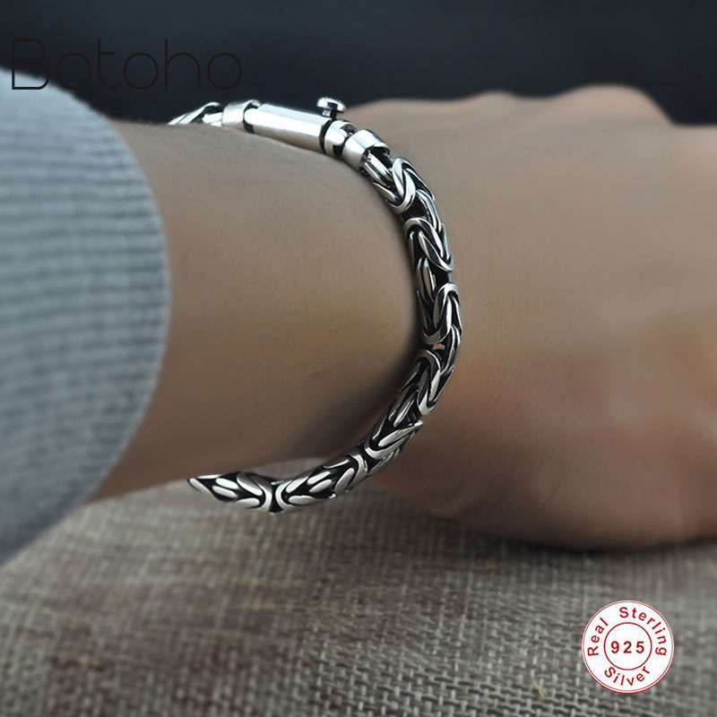 925Sterling silver bracelet Men Pure 925 Sterling Silver Bracelet Classic Link Chain S925 Thai Silver Bracelet Women's Jewelry 2018 thai silver jewelry 925 sterling silver men bracelet male domineering personality retro fashion chain link charm bracelet