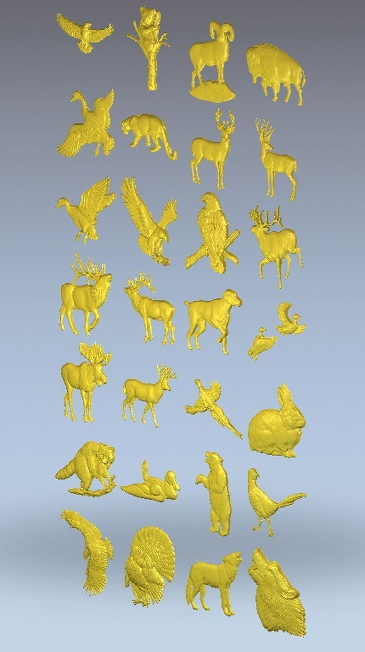 3d Model Relief  For Cnc In STL File Format Animals_1