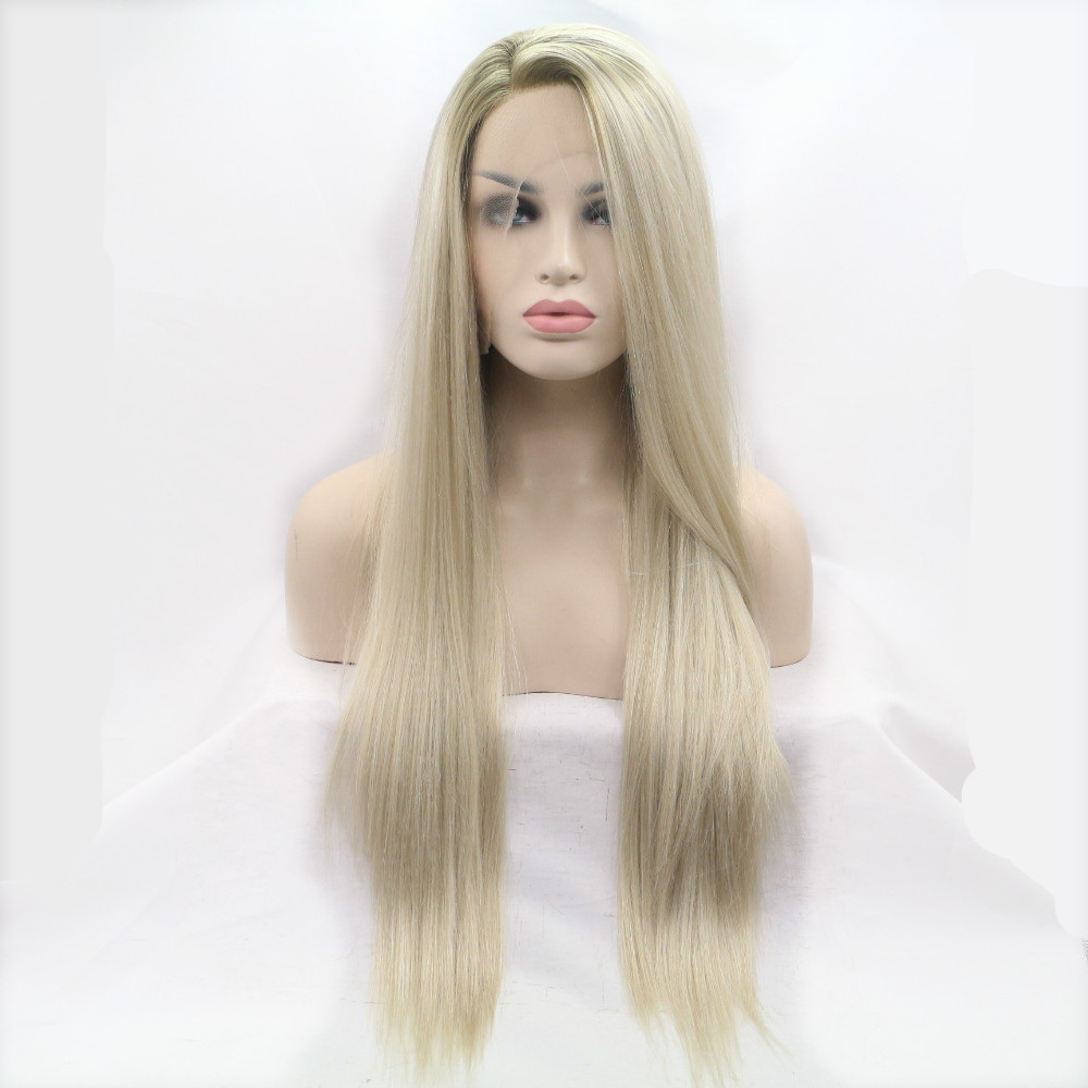 Sylvia Brown To Blonde Ombre Wigs Long Silky Straight Synthetic Lace Front Wig Side Part Heat Resistant Fiber Hair For Women