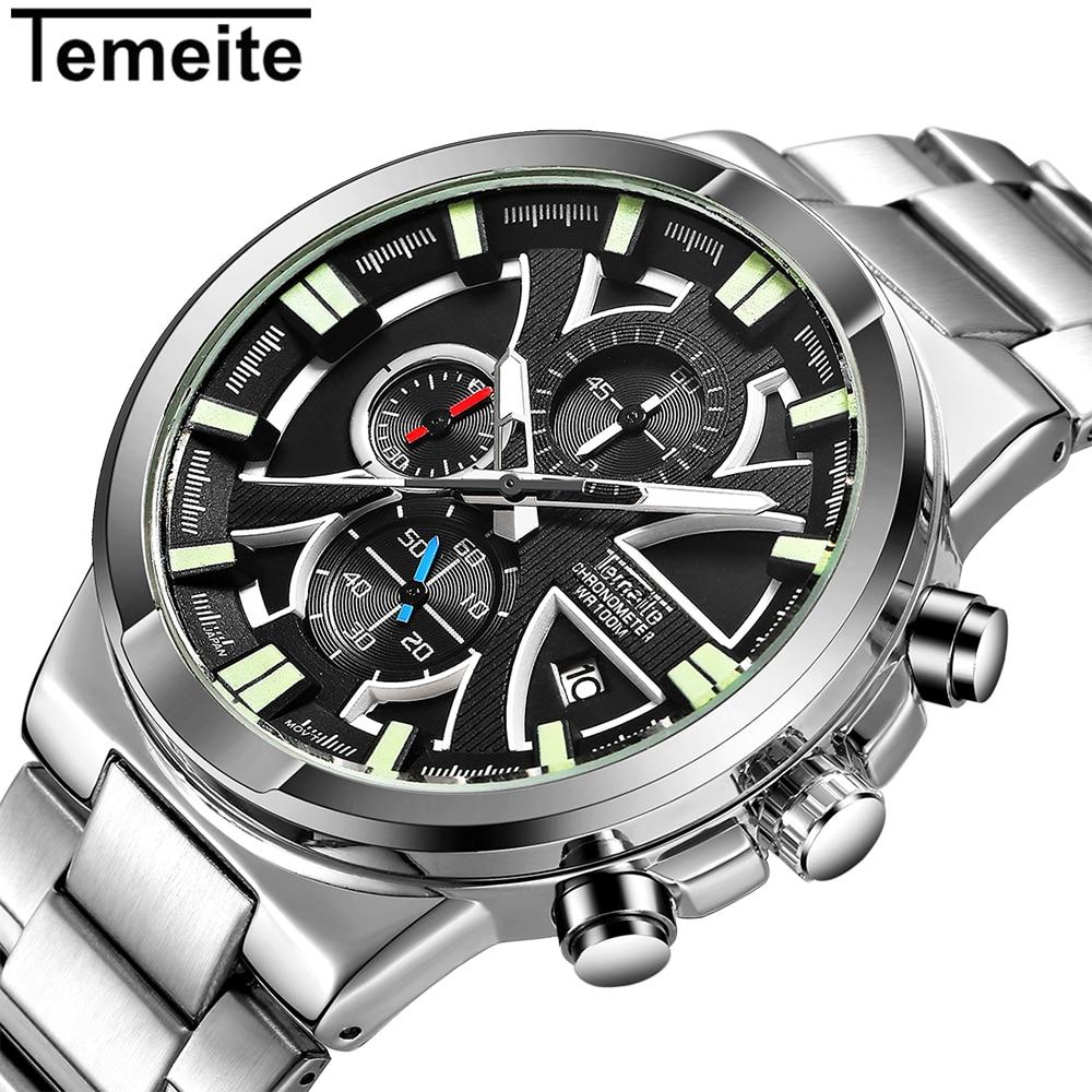 TEMEITE Top Brand Luxury Chronograph Quartz Watch Men Working 3 Sub dials 6 Hands Date Fashion Sports Wrist Watches Male Clock Quartz Watches     -