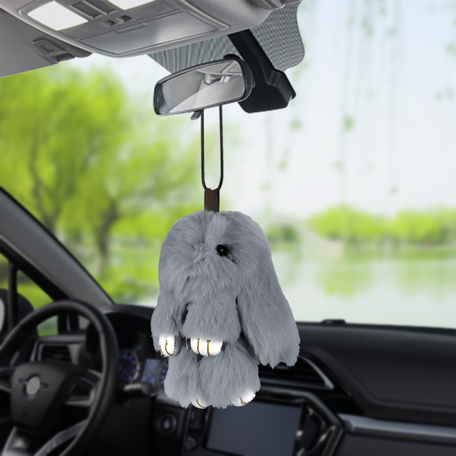 Car Pendant Cute Plush Rabbit Decoration Hanging Automotive Ornaments Auto Rearview Mirror Fluffy Bunny Decor Accessories