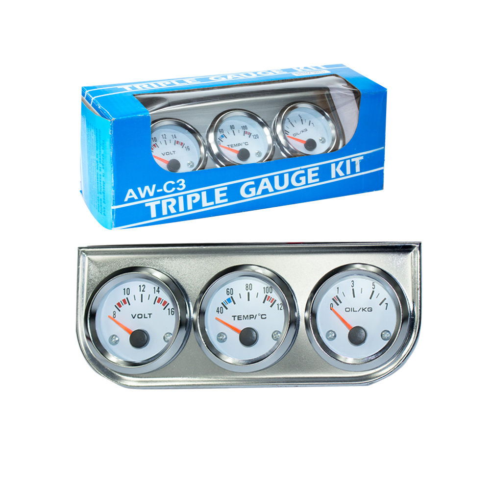 Chrome 2''52MM Triple gauge kit water temp gauge+Voltmeter+Oil pressure gauge with Sensor Car Meter TT100895