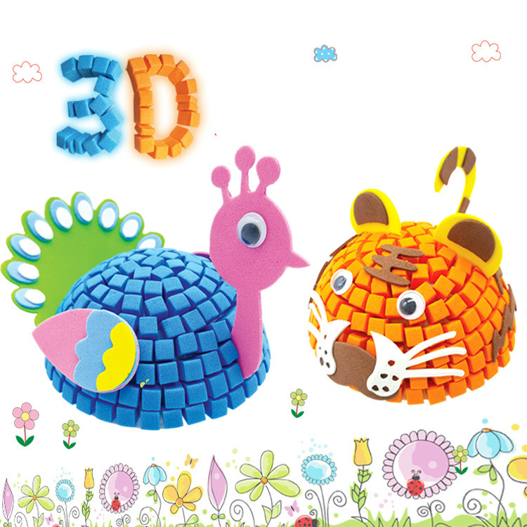 3D EVA Foam Model Jigsaw Puzzle Game DIY Cartoon Animal Learning Education Toys For Children Kids Home & School Stereoscopic Art