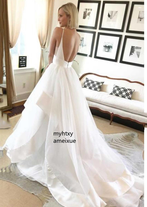Пикантные тонкие бретельки с открытой спиной дешевое свадебное платье 2019 Белые Атласные оборки пышные тюлевые пляжные свадебные Платья Vestidos De Noiva
