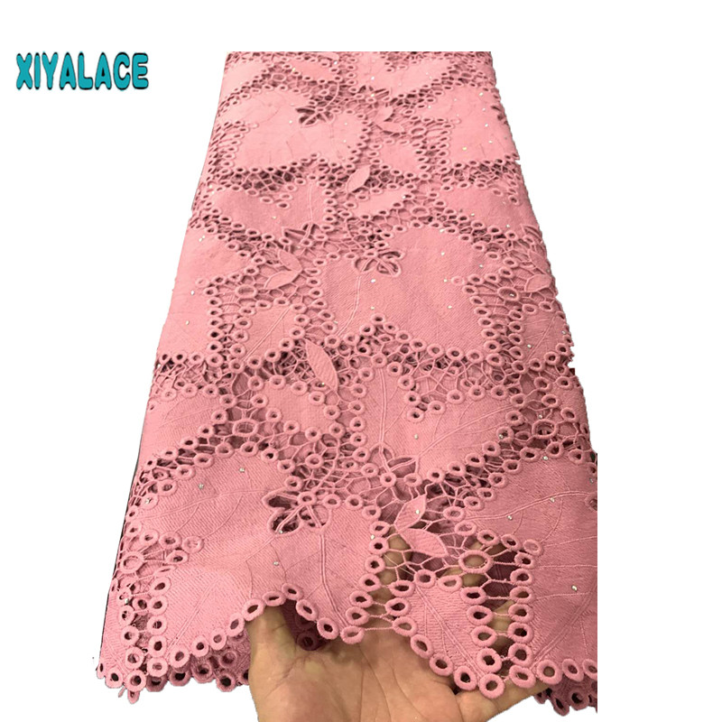 Latest Lace Fabric 2019 Cord Lace Fabric Milk Silk With stones High Quality Peach Guipure Lace